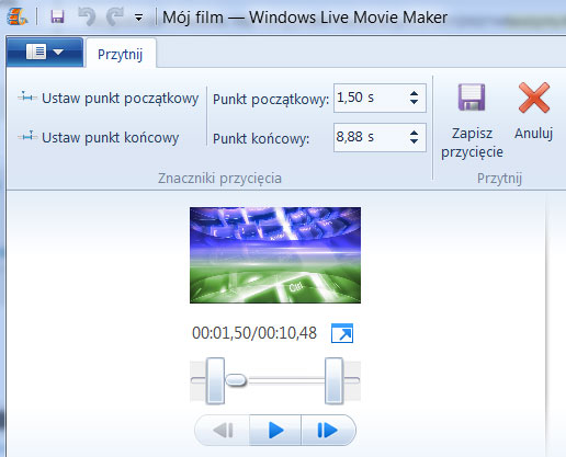 windows live movie maker - przycinanie