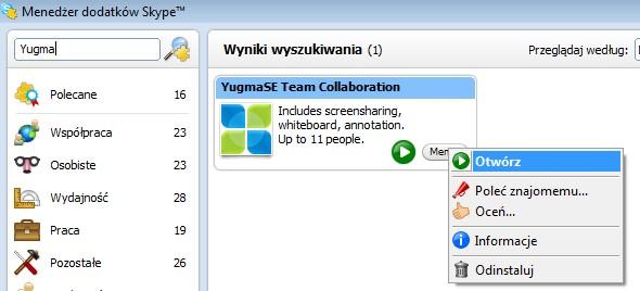 Menedżer dodatków Skype