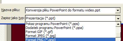 Wybierz format pliku graficznego