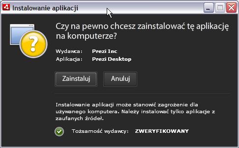 Instalacja aplikacji Prezi Desktop